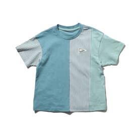 クレイジーパターン×ストライプ柄Tシャツ (ブルー)