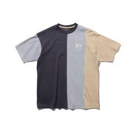 【150・160cm】クレイジーパターン×ストライプ柄Tシャツ (ディープグレー)