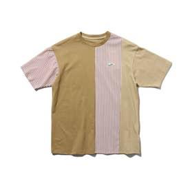 【150・160cm】クレイジーパターン×ストライプ柄Tシャツ (ブラウン)