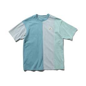 【150・160cm】クレイジーパターン×ストライプ柄Tシャツ (ブルー)