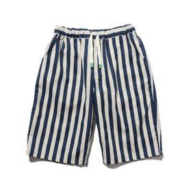 【150・160cm】綿麻混アソート柄ショートパンツ (ブルー)
