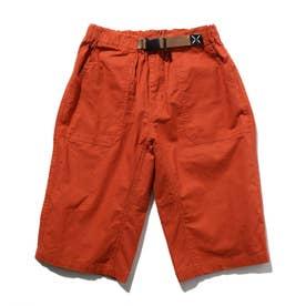 【150・160cm】定番カラーショートパンツ/飾りベルト付き (オレンジ)