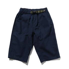 【150・160cm】定番カラーショートパンツ/飾りベルト付き (ネイビー)