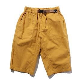 【150・160cm】定番カラーショートパンツ/飾りベルト付き (マスタード)