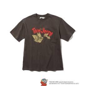 【150・160cm/WEB限定/リンクコーデ】トムとジェリー Tシャツ (チャコールグレー)