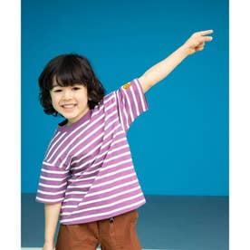 【ママとパパおそろい】【SHELTECH×ChupaChups】ボーダーTシャツ (ロイヤルパープル)