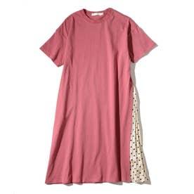 【160cmまで】プリーツ切替Tシャツワンピース (ピンク)