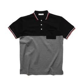 【リンク/160cmまで】配色ポロシャツ (ブラック)