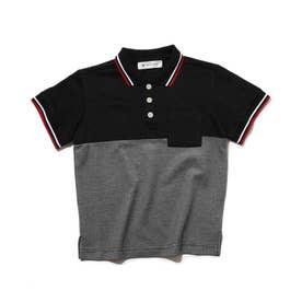【パパとおそろい】ラインリブ衿ポロシャツ (ブラック)