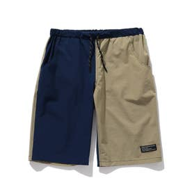 【150・160cm】夏パンツ!ナイロン混カラーショートパンツ (ネイビー)