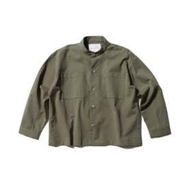 【WEB限定/140cmまで】バンドカラーシャツ (カーキ)