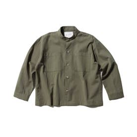 【WEB限定】バンドカラーシャツ (カーキ)