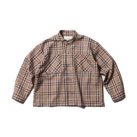 【WEB限定/140cmまで】バンドカラーシャツ (ブラウン)