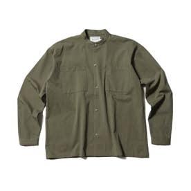 【WEB限定/160cmまで】バンドカラーシャツ (カーキ)