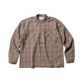 【WEB限定/160cmまで】バンドカラーシャツ (ブラウン)