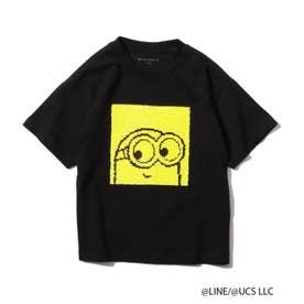 【WEB限定/150・160cm】ブラウン&ミニオンズ(BROWN&MINIONS)/リバーシブルスパンコールTシャツ (ブラック