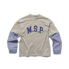【160cmまで】袖切替カレッジロゴTシャツ (ライトグレー)