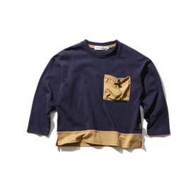 【140cmまで/リンクコーデ/CODURA(R)】袖切替/ポケットTシャツ (ネイビー)