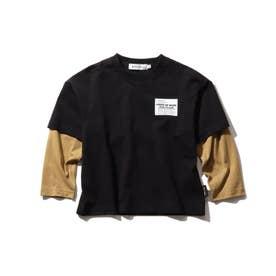 【140cmまで/リンクコーデ/CODURA(R)】袖切替/ポケットTシャツ (ブラック)