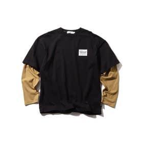 【160cmまで/リンクコーデ/CODURA(R)】袖切替/ポケットTシャツ (ブラック)