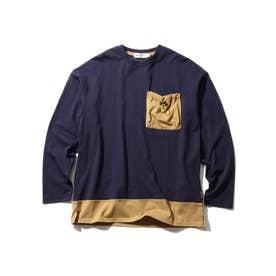 【160cmまで/リンクコーデ/CODURA(R)】袖切替/ポケットTシャツ (ネイビー)