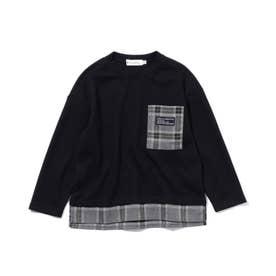 【140cmまで】ポケットワッフルプルオーバー (ブラック)