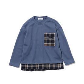 【140cmまで】ポケットワッフルプルオーバー (ブルー)