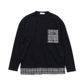 【160cmまで】ポケットワッフルプルオーバー (ブラック)