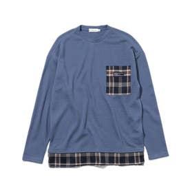 【160cmまで】ポケットワッフルプルオーバー (ブルー)