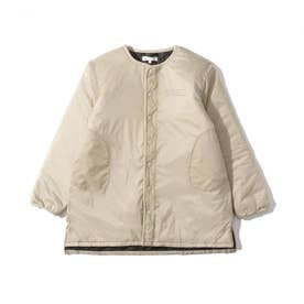 【160cmまで】キルトロングジャケット (サンドベージュ)