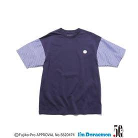 【大人サイズ/WEB限定/親子でおそろい】【I'm Doraemon】ストライプ袖Tシャツ (ネイビー)