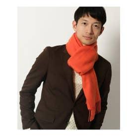 カシミヤブレンドマフラー/ユニセックスで使えるチェック&無地12色バリエーション! (オレンジ(067))