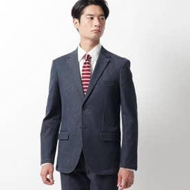 【セットアップ】色落ちしないデニムテーラードジャケット (ネイビー)