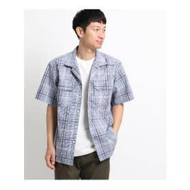 【吸水速乾/セオアルファ糸使用】さらさらオープンカラー半袖シャツ (ブルー)
