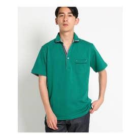 【親子おそろい】パイピングポロシャツ (ダークグリーン(023))