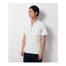 【クールビズ】ライン使いスキッパーポロシャツ (オフホワイト(003))