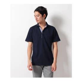 【クールビズ】ライン使いスキッパーポロシャツ (ネイビー(093))
