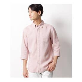 ベルギーリネン七分袖シャツ (ピンク)