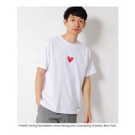 Keith Haring/キースヘリング プリント半袖Tシャツ/ユニセックスでオススメ!! (オフホワイト)