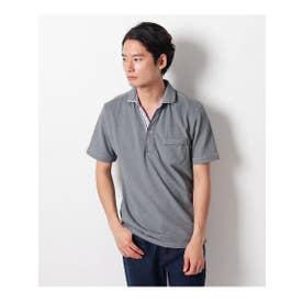 【クールビズ】ライン使いダブル衿ポロシャツ (チャコールグレー(014))