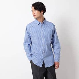 ピンオックスワイドカラーシャツ (ネイビー)