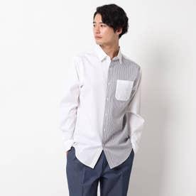 ピンオックスワイドカラーシャツ (オフホワイト×オフホワイト)