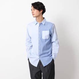 ピンオックスワイドカラーシャツ (サックス×サックス)