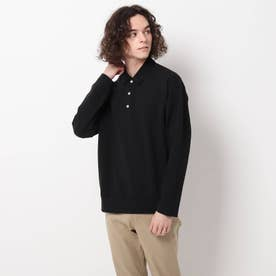鹿の子ロングスリーブポロシャツ (ブラック)