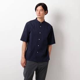 タイプライターバンドカラーシャツ (ネイビー)