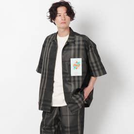 【WEB限定】ビックシルエットスケーターシャツ/エコレザー/オンブレー/チェック/セットアップ対応可 (ダークグリーン)