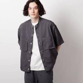リネンライクバンドカラーシャツ (チャコールグレー)