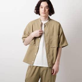 リネンライクバンドカラーシャツ (ベージュ)