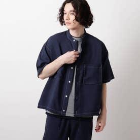 リネンライクバンドカラーシャツ (ネイビー)