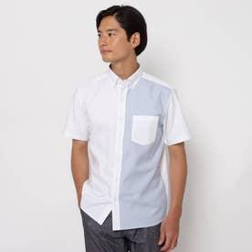 【超吸水速乾】TECH-OXFORD 半袖シャツ (ネイビー×ホワイト)
